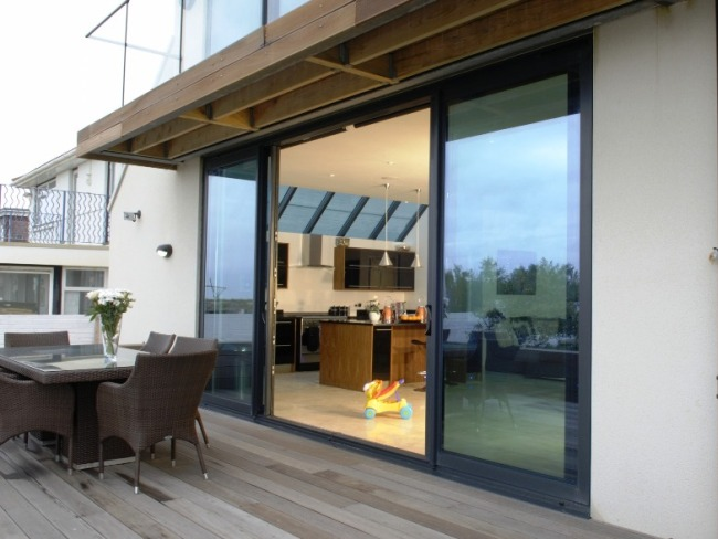 Aluminium Patio Doors, Bespoke Aluminium Patio Doors, Aluminium Patio Doors  Installer, Large Grey