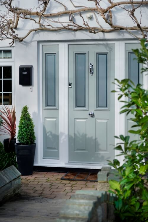 grey coloured composite doors, bespoke light grey coloured composite doors, colour composite doors with side panels, secure grey coloured composite doors with glass panels