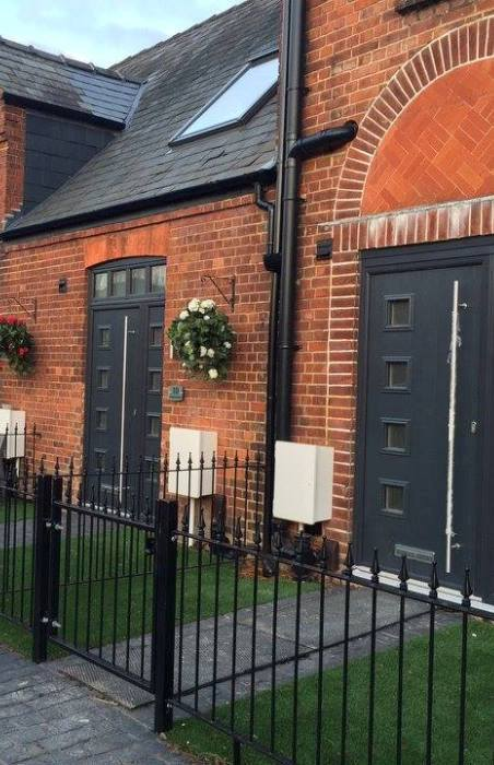 dark grey colour options for composite doors, modern coloured composite doors, coloured composite doors modern grey, secure composite door grey modern colours