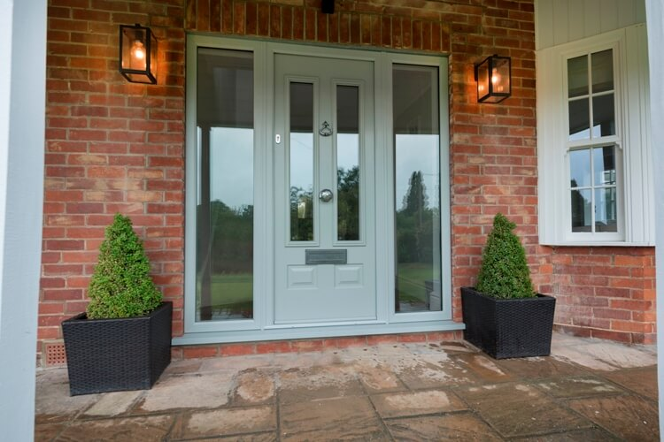 composite doors with side panel in Bedford, bespoke Bedford composite doors with glass side panel, light grey Bedford composite doors, secure composite doors, composite doors installer in Bedford
