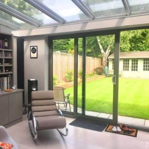 grey aluminium conservatories London, grey London conservatories designs, conservatories london designs, grey lean to