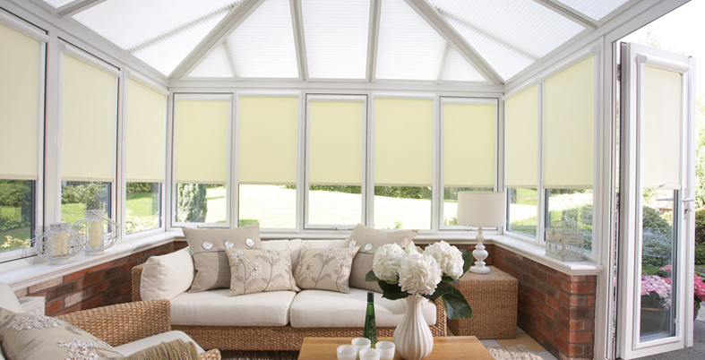 made to measure blinds, pleated made to measure blinds, heat rejecting made to measure blinds, heat retaining made to measure blinds, full height conservatory side frame blinds