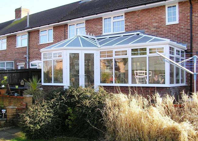 replacement conservatory in white upvc